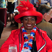 A colorful delegate relaxes at the Westin between activites at the 2012 Democratic National Convention