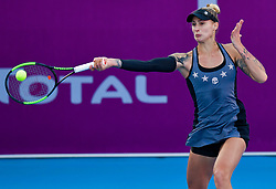 DOHA, Feb. 13, 2019  Polona Hercog of Slovenia hits a return during the women's singles first round match between Alison Riske of the United States and Polona Hercog of Slovenia at the 2019 WTA Qatar Open in Doha, Qatar, Feb. 12, 2019. Polona Hercog lost 0-2. (Credit Image: © Nikku/Xinhua via ZUMA Wire)