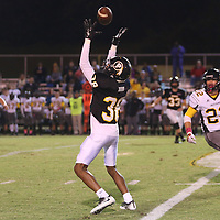 Lauren Wood | Buy at photos.djournal.com<br /> Pontotoc's Ralph Dunn intercepts the ball intended for Pontotoc's Russell Bunch during Friday night's game against Itawamba.