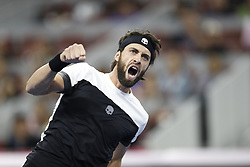 BEIJING, Oct. 7, 2018  Nikoloz Basilashvili of Georgia celebrates after winning the men's final against Juan Martin del Potro of Argentina at the China Open tennis tournament in Beijing, capital of China on Oct. 7, 2018. Basilashvili won 2-0 and claimed the title. (Credit Image: © Xinhua via ZUMA Wire)