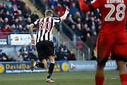 Notts County forward Jonathan Stead (30) celebrates his goal (score 2-3) during the EFL Sky Bet League 2 match between Leyton Orient and Notts County at the Matchroom Stadium, London, England on 18 February 2017. Photo by Andy Walter.