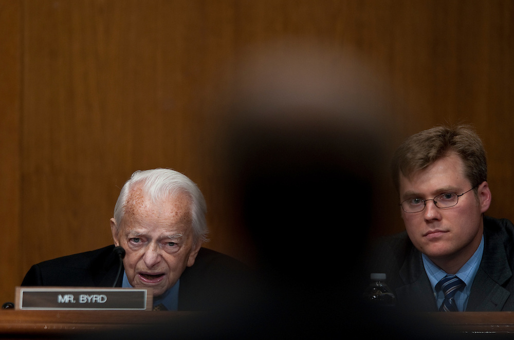 May 20, 2010 - Washington, District of Columbia, U.S., - Senator Robert Byrd questions Don Blankenship, chairman and CEO of Massey Energy Company during a Senate Appropriations Committee hearing on Mine Safety Investment on Thursday.(Credit Image: © Pete Marovich/ZUMA Press)