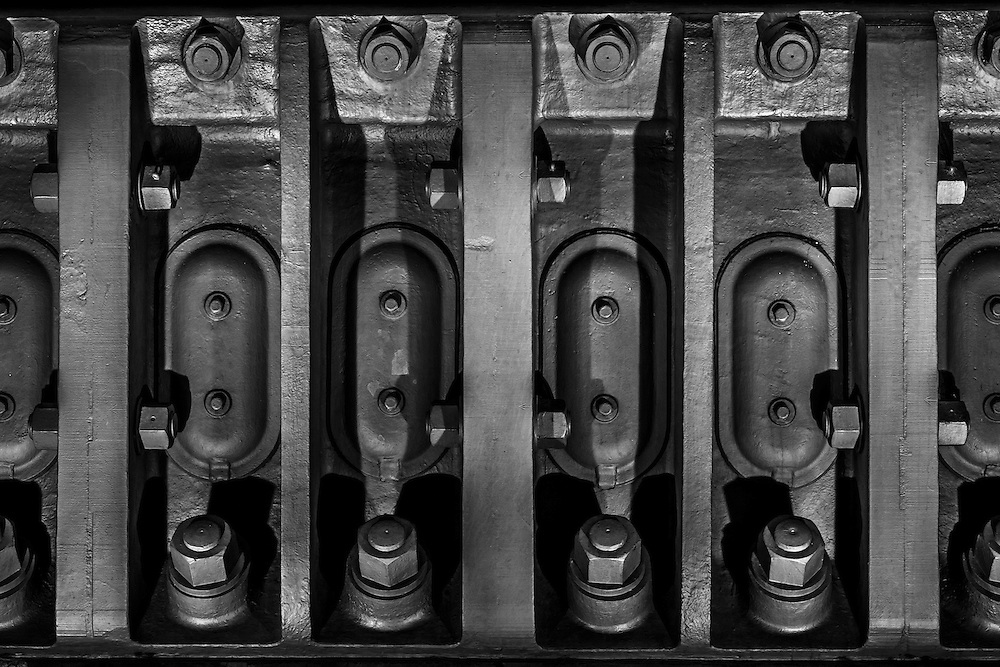 Details of the connecting bolts of the Sydney Harbour Bridge in Sydney, Australia.