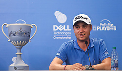 September 4, 2017 - Norton, Massachusetts, United States - Justin Thomas speaks to the media with the trophy after winning the Dell Technologies Championship at TPC Boston. (Credit Image: © Debby Wong via ZUMA Wire)
