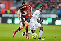 Lenny NANGIS / Romain DANZE  - 25.01.2015 - Rennes / Caen  - 22eme journee de Ligue1<br /> Photo : Vincent Michel / Icon Sport *** Local Caption ***