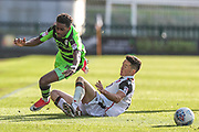 Forest Green Rovers Reece Brown(10) is tackled by Morecambe's Luke Conlan(14) is shown a yellow card, booked during the EFL Sky Bet League 2 match between Forest Green Rovers and Morecambe at the New Lawn, Forest Green, United Kingdom on 28 October 2017. Photo by Shane Healey.