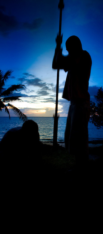 Just After Sunset, Men At Work In Silhouette, Fiji
