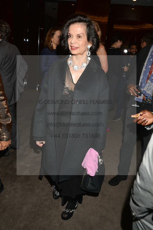 BIANCA JAGGER at a dinner hosted by Liberatum to honour Francis Ford Coppola held at the Bulgari Hotel & Residences, 171 Knightsbridge, London on 17th November 2014.
