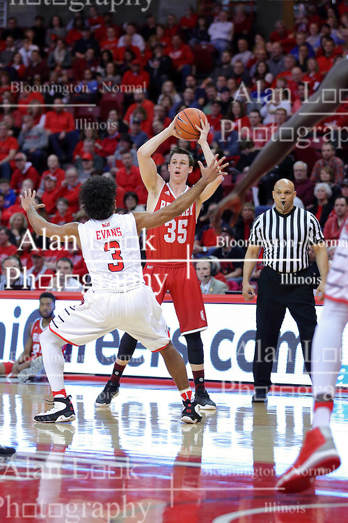11 February 2017:  Ed Crenshaw watches the action with Keyshawn Evans(3) defending Jayden Hodgson during a College MVC (Missouri Valley conference) mens basketball game between the Bradley Braves and Illinois State Redbirds in  Redbird Arena, Normal IL