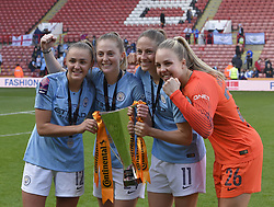 February 23, 2019 - Sheffield, England, United Kingdom - Georgia Stanway Keira Walsh Janine Beckie and Ellie Roebuck celebrate winning the league cup      during the  FA Women's Continental League Cup Final  between Arsenal and Manchester City Women at the Bramall Lane Football Ground, Sheffield United FC Sheffield, Saturday 23rd February. (Credit Image: © Action Foto Sport/NurPhoto via ZUMA Press)