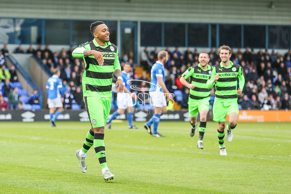 Forest Green Rovers Keanu Marsh-Brown(7) and celebrates scoring a goal 0-1 during the Vanarama National League match between Macclesfield Town and Forest Green Rovers at Moss Rose, Macclesfield, United Kingdom on 12 November 2016. Photo by Shane Healey.