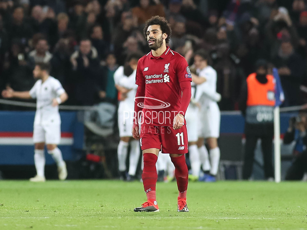 Mohamed Salah of Liverpool disappointed during the Champions League group stage match between Paris Saint-Germain and Liverpool at Parc des Princes, Paris, France on 28 November 2018.