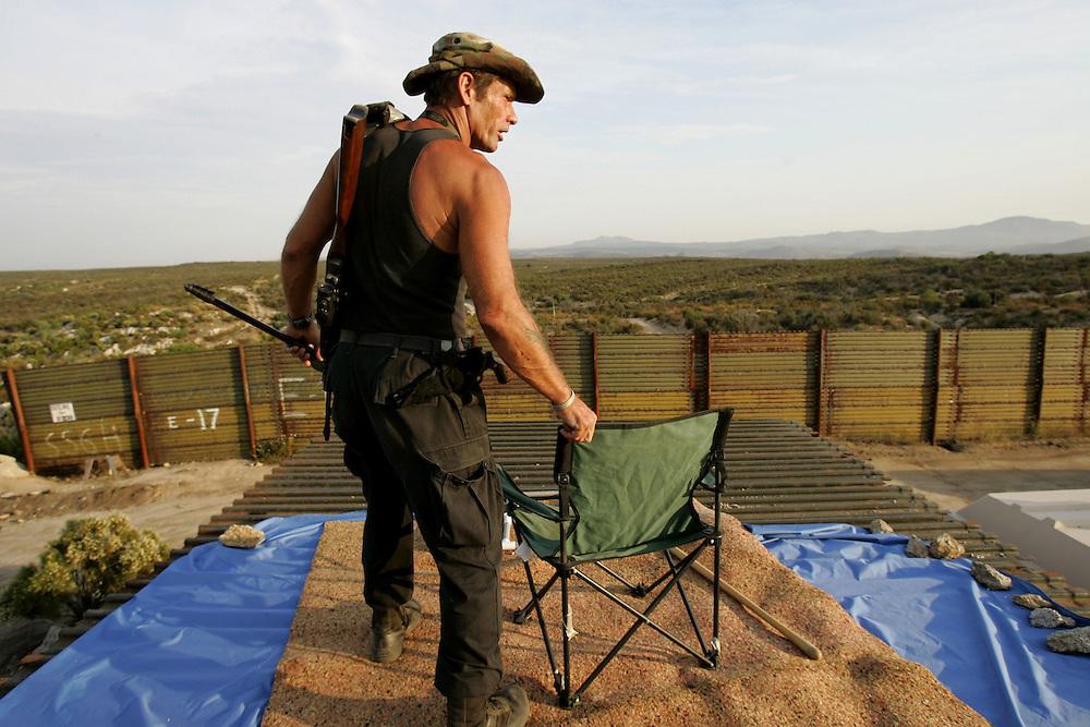 California MinutemanTJ McMullin patrols the border near Campo California.
