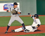 MANHATTAN, KS - APRIL 22:  Second basemen Josh Tavelli #8 of the UC Irvine Anteaters gets ready to throw to first base after forcing out Justin Bloxom of the Kansas State Wildcats in the second inning on April 22, 2008 at Tointon Stadium in Manhattan, Kansas.  UC Irvine defeated Kansas State 4-3.  (Photo by Peter Aiken/Getty Images)