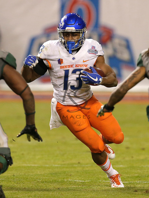 Boise State running back Jeremy McNichols (13) during the Cactus Bowl NCAA college football game against Baylor, Tuesday, Dec. 27, 2016, in Phoenix. (AP Photo/Rick Scuteri)