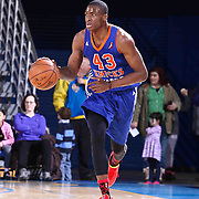 Westchester Knicks Forward Thanasis Antetokounmpo (43) dribbles the ball up the floor in the second half of a NBA D-league regular season basketball game between the Delaware 87ers and the Westchester Knicks (New York Knicks) Wednesday, Feb. 17, 2015 at The Bob Carpenter Sports Convocation Center in Newark, DEL