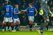 Greg Stewart (#24) of Rangers FC is all smiles after scoring his second goal for Rangers during the Ladbrokes Scottish Premiership match between Rangers FC and Heart of Midlothian FC at Ibrox Park, Glasgow, Scotland on 1 December 2019.