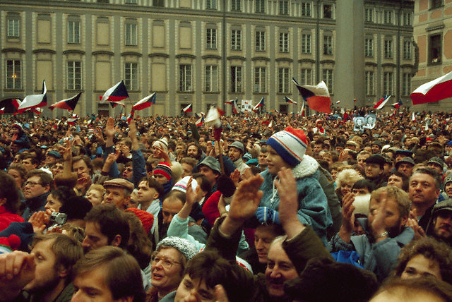 30 Dec 1989, Prague, Czech Republic --- Filling a public square the day after the elections, a crowd celebrates the victory of Vaclav Havel as Czechoslovakia's president. Czechoslovakia, December 30, 1989. --- Image by © Owen Franken/CORBIS