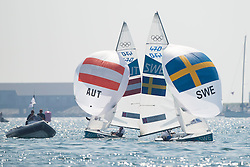 10.08.2012, Bucht von Weymouth, GBR, Olympia 2012, Segeln, im Bild Reichstaedter Florian, Schmid Matthias, (AUT, 470 Men).During Niclas, von Geijer Jonas, (SWE, 49er) // during Sailing, at the 2012 Summer Olympics at Bay of Weymouth, United Kingdom on 2012/08/10. EXPA Pictures © 2012, PhotoCredit: EXPA/ Juerg Kaufmann ***** ATTENTION for AUT, CRO, GER, FIN, NOR, NED, .POL, SLO and SWE ONLY!