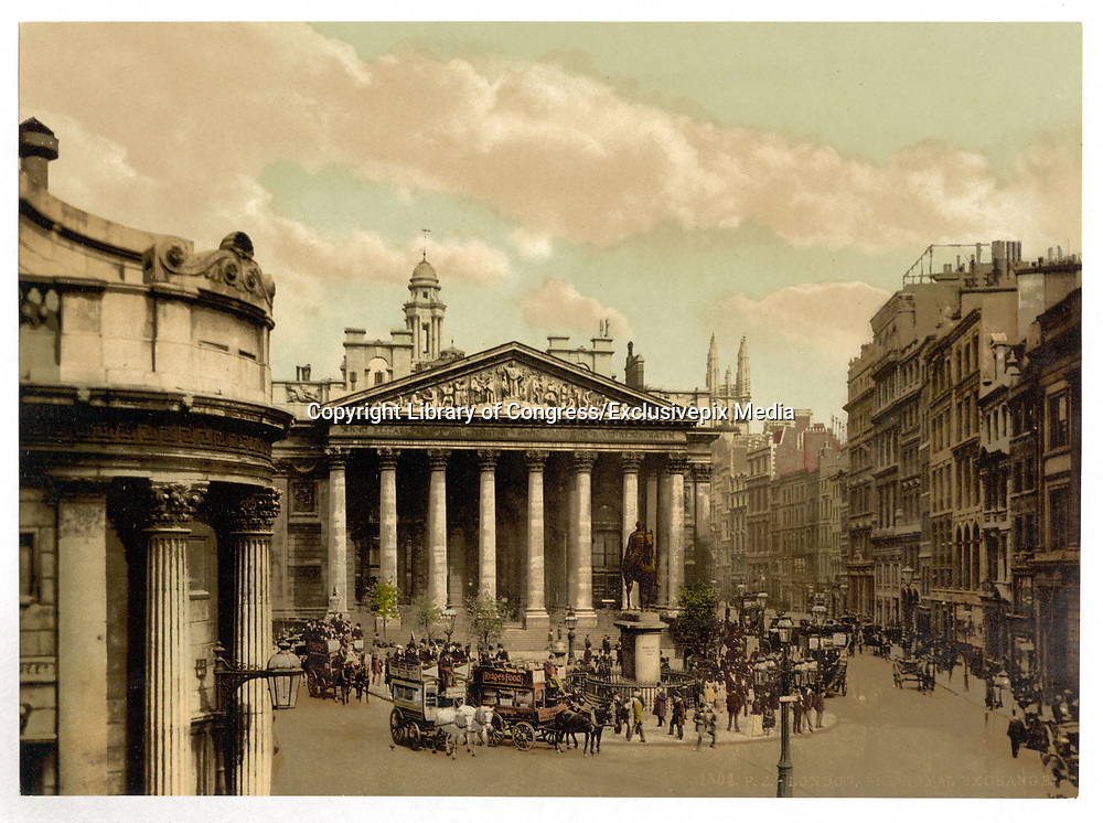Stunning Old photochrome prints turn back the clock in London <br /> <br /> colourised postcards from the Victorian era,  postcards were made using photochrom - a method of producing colourised photos from negatives<br /> <br /> Photo shows: Royal Exchange, London, England, between 1890 and 1900<br /> ©Library of Congress/Exclusivepix Media