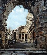 Nimes (Gard) - Temple of Diana' 1890.  Oil on canvas.  Emmanuel Lansyer (1835-1893) French landscape painter.  Roman ruins now said ot have been part of Roman bath complex. France