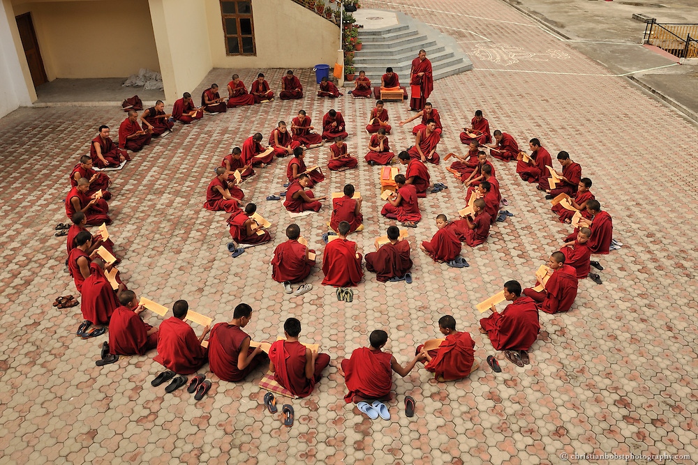Tibetan novice monks school class at the Dagpo Shedrub Ling Monastery in India