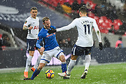 Rochdale Midfielder Matt Done (16) and Tottenham Hotspur Midfielder Erik Lamela (11) in action during the The FA Cup match between Tottenham Hotspur and Rochdale at Wembley Stadium, London, England on 28 February 2018. Picture by Stephen Wright.