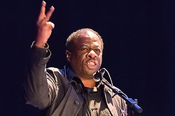 The Camden Centre, Kings Cross, London, November 4th 2015. Stand Up To Racism's Weyman Bennett  addresses a rally at the Camden Centre in Kings Cross, organised by Stand Up To Racism in support of refugees.