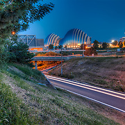 View of the Kauffman Center from across the highway loop in the Quality Hill area of downtown Kansas City MO.