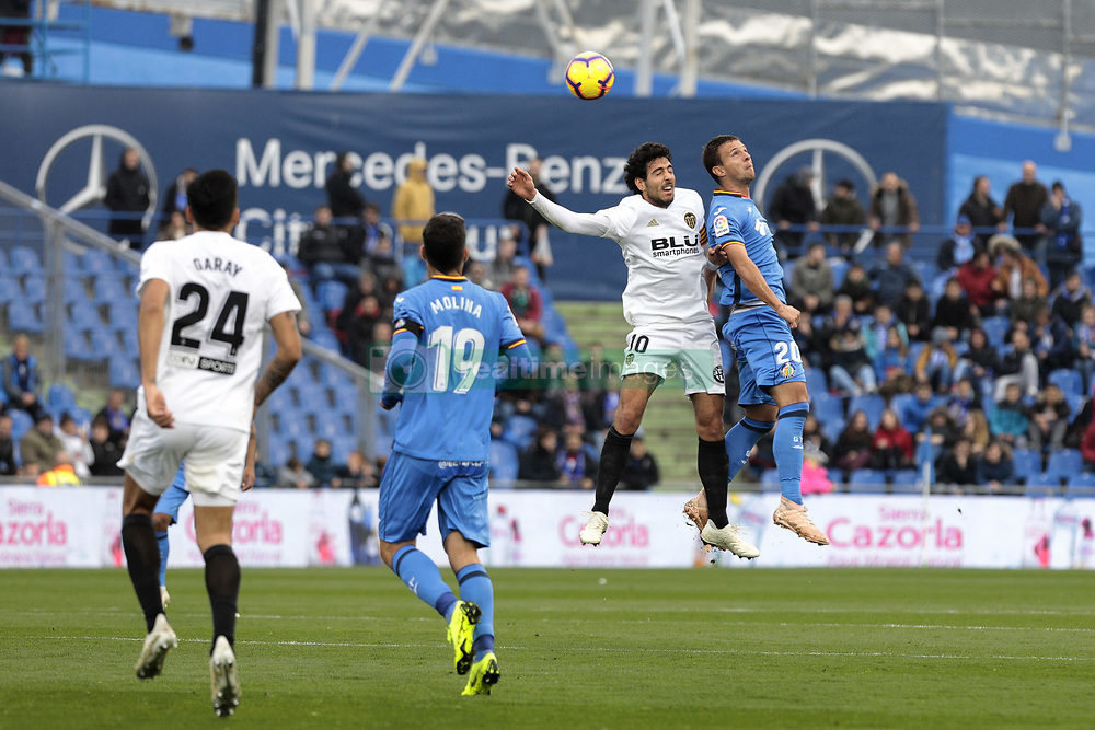 November 10, 2018 - Getafe, Madrid, Spain - Getafe CF's Nemanja Maksimovic and Valencia CF's Daniel Parejo during La Liga match between Getafe CF and Valencia CF at Coliseum Alfonso Perez in Getafe, Spain. November 10, 2018. (Credit Image: © A. Ware/NurPhoto via ZUMA Press)