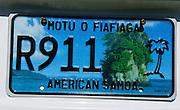 License Plate of American Samoa, South Pacific