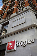 Exterior of the Triglav Insurance Building (formerly the Mutual Assurance Building, 1928-1930), in the Slovenian capital, Ljubljana, on 27th June 2018, in Ljubljana, Slovenia. Triglav takes its name from the highest and most iconic national Slovenian symbol, the 2,864m high mountain peak of the same name, in the Julian Alps.