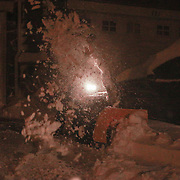 A residence of Hudson Village uses a snowblower to remove snow Saturday, Jan, 23, 2016 in Newark.<br /> <br /> A massive blizzard dumps snow in Newark, and eastern United States on Friday, with mass flight cancellations, five states declaring states of emergency.