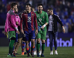 April 27, 2018 - Valencia, Valencia, Spain - Oier (R) of Levante UD celebrates the victory with his teammate Lukic during the La Liga game between Levante UD and Sevilla FC at Ciutat de Valencia on April 27, 2018 in Valencia, Spain  (Credit Image: © David Aliaga/NurPhoto via ZUMA Press)