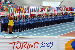 Opening ceremony at the 1st day of  European Athletics Indoor Championships Torino 2009 (6th - 8th March), at Oval Lingotto Stadium,  Torino, Italy, on March 6, 2009. (Photo by Vid Ponikvar / Sportida)