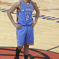 21 June 2012: Oklahoma City Thunder shooting guard Thabo Sefolosha (2) rests during the Miami Heat 121-106 victory over the Oklahoma City Thunder, in Game 5 of the 2012 NBA Finals, at the AmericanAirlinesArena, Miami, Florida, USA. The Miami Heat wins the series 4-1.