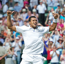 29.06.2011, Wimbledon, London, GBR, ATP World Tour, Wimbledon Tennis Championships, im Bild Jo-Wilfried Tsonga (FRA) celebrates after winning 3-6, 6-7, 6-4, 6-4, 6-4 the Gentlemen's Singles Quarter-Final match on day nine of the Wimbledon Lawn Tennis Championships at the All England Lawn Tennis and Croquet Club. EXPA Pictures © 2011, PhotoCredit: EXPA/ Propaganda/ David Rawcliffe +++++ ATTENTION - OUT OF ENGLAND/UK +++++