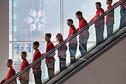Dec. 29, 2015 - Warsaw, Masovian, Poland -<br /> <br /> 11-millionth passenger at Chopin Airport in Warsaw wins trip to Tokyo<br /> <br />  Boys' choir before celebration of 11-millionth passenger at Chopin Airport in Warsaw. Passenger number 11 111 111 won a ticket to Tokyo for 2 persons and a voucher for a luxury airport restaurant.  29 December 2015 in Warsaw, Poland.<br /> ©Exclusivepix Media