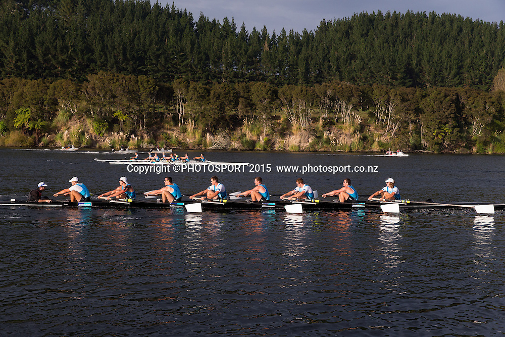 Men's Eight, Stephen Jones, Brook Robertson,<br /> Alex Kennedy, Joe Wright, Isaac Grainger,<br /> Shaun Kirkham, Michael Brake, Tom Murray,<br /> Cox Caleb Shepherd at the Rowing NZ Media Day, Lake Karapiro, Cambridge, New Zealand, Wednesday 6 May 2015. Photo: Stephen Barker/Photosport.co.nz