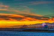 Santa Monica CA, beach, Santa Monica Pier, Pacific Park, Fiery Sunset, California, United States of America, North America