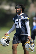 Aug 14, 2019; Costa Mesa, CA, USA: Los Angeles Chargers linebacker Emeke Egbule (51) during training camp at the Jack Hammett Sports Complex.