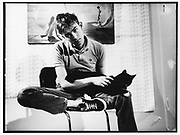 Damon Albarn with a black cat, London 1994