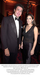 MISS JESSICA DE ROTHSCHILD and MR EDUARDO TEODORANI-FABBRI nephew of Fiat chief Giovanni Agnelli, at a party in London on 26th January 2002.			OWY 43