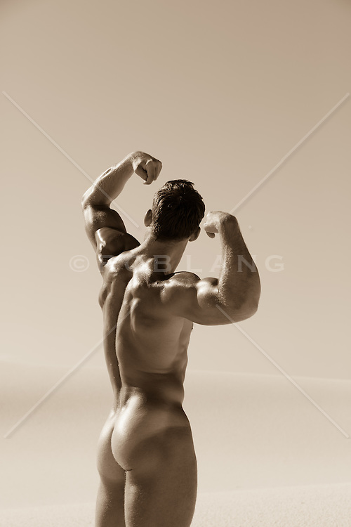 muscular male nude in the desert