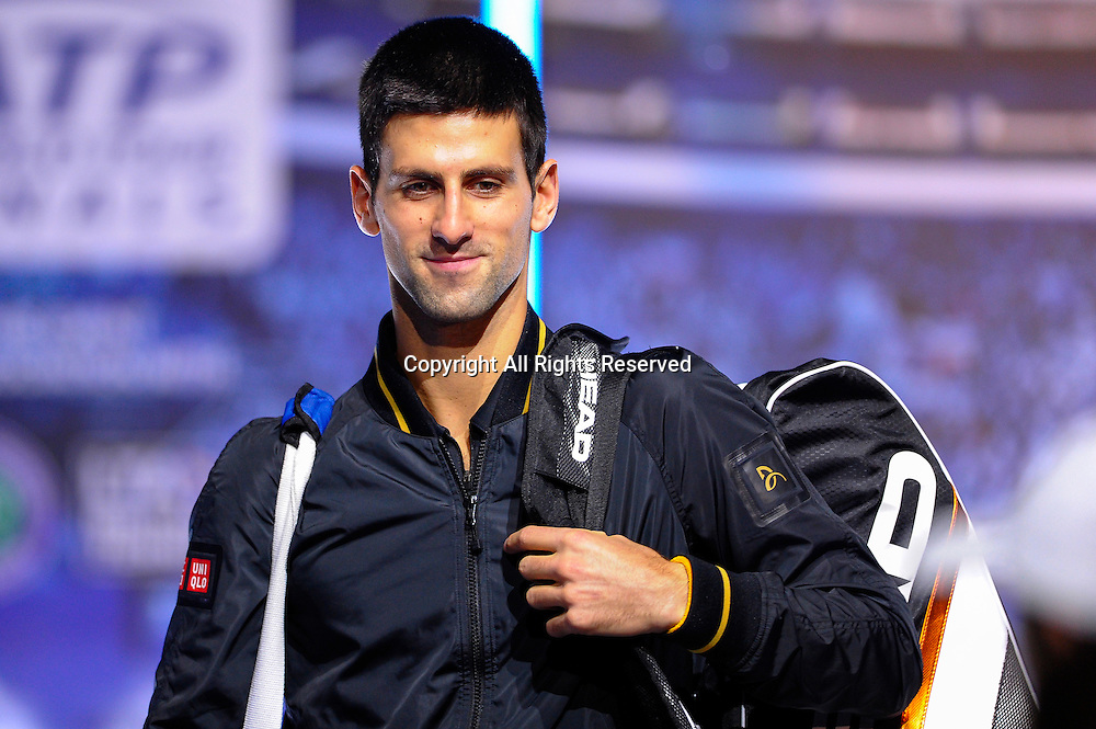 11.11.2012 London, England. Serbias Novak Djokovic enters the arena for the first Semi Final match against Argentinas Juan Martin del Potro in the Barclays ATP World Tour Finals at The O2 Arena.