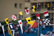 May 22, 2014: Monaco Grand Prix: Naval flags on mega yachts