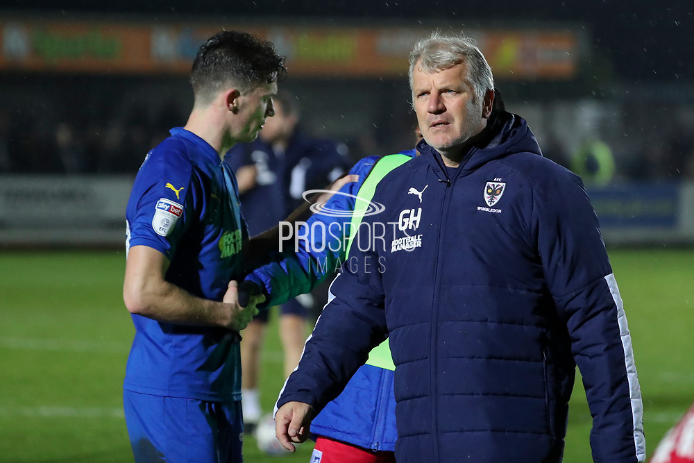 AFC Wimbledon manager Glyn Hodges walking off the pitch during the EFL Sky Bet League 1 match between AFC Wimbledon and Gillingham at the Cherry Red Records Stadium, Kingston, England on 23 November 2019.