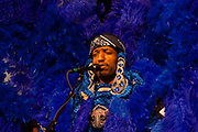 Big Chief Donald Harrison, Jr. continues the tradition of the Mardi Gras Indian culture performing on the WWOZ Jazz Tent stage at the New Orleans Jazz and Heritage Festival at the New Orleans Fair Grounds Race Course in New Orleans, Louisiana, USA, 24 April 2009.