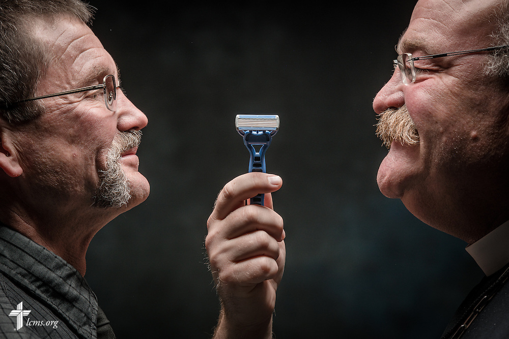 """""""Mustache Resolution"""" photo illustration on Monday, Sept. 12, 2016, in the studio of the International Center of The Lutheran Church–Missouri Synod in St. Louis. LCMS Communications/Erik M. Lunsford"""