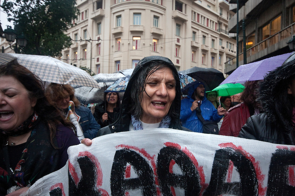 November 6, 2013, Greece - A demonstration was held in central Athens under heavy rain, on the day of an anti-austerity general strike organized by GSEE and ADEDY, Greece's major unions for the private and the public sector.